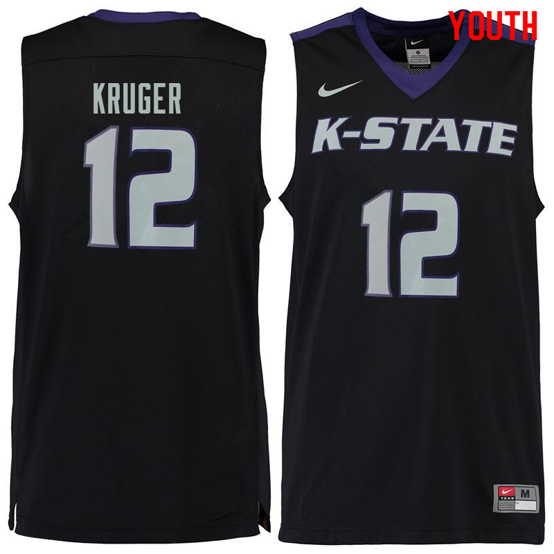 Youth #12 Lon Kruger Kansas State Wildcats College Basketball Jerseys Sale-Black